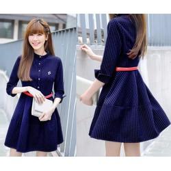 Đầm xòe sọc caro tay lở xinh xắn - AV5030
