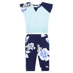 Bộ đồ lửng họa tiết hoa bé gái - Hoa Trắng xanh - CIRINO