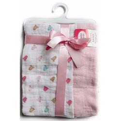 Bộ 2 chăn cuốn bé muslin siêu mềm mát 101x101cm hồng