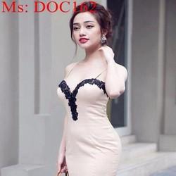 Đầm body dự tiệc cúp ngực 2 dây phối ren viền sành điệu DOC162