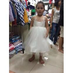 Đầm công chúa phối ren lưng nút - Giá Cực Sốc