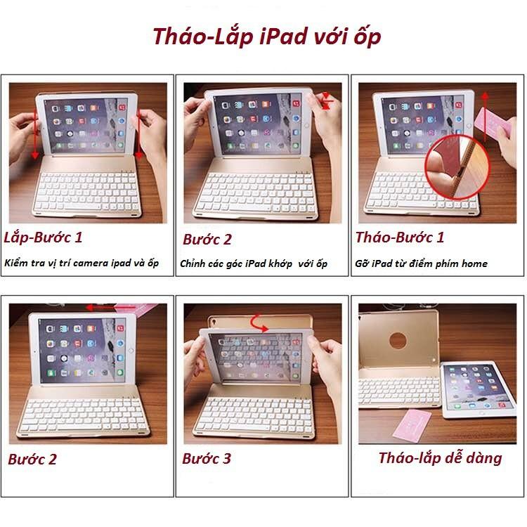 Bàn phím ốp lưng iPad Pro 9.7 vàng hồng Bluetooth 3