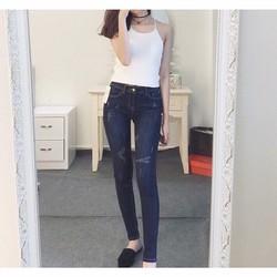 Quần jean Nữ skinny xước nhẹ xuất xịn, phôm ôm, chất jean co giãn
