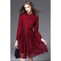 Đầm liền áo sơ mi váy ren-NU HOUSE