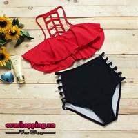 Bộ bikini xương cá quần cạp cao EvaBKN124