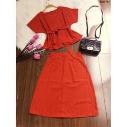 Set áo cột eo và váy xòe