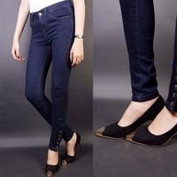 Quần jean lưng cao 5 nút bắp chân
