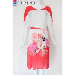 Đầm mặc nhà họa tiết hoa sang trọng - Hoa Đỏ - CIRINO