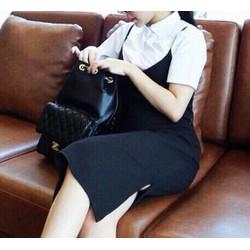 Set áo sơ mi ngắn tay + váy yếm đen