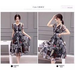 Đầm Maxi xòe hoa cổ tim tay ngắn - DKN1522