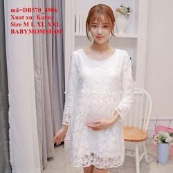 Đầm bầu Hàn Quốc tay dài ren hoa sang trọng đẳng cấp zzDB570