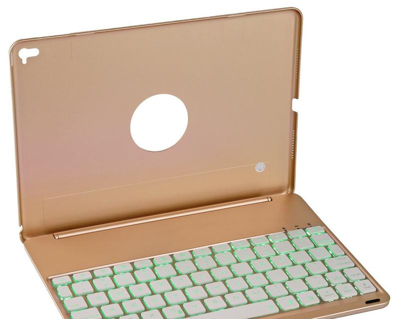 Bàn phím ốp lưng iPad Pro 9.7 vàng hồng Bluetooth 7