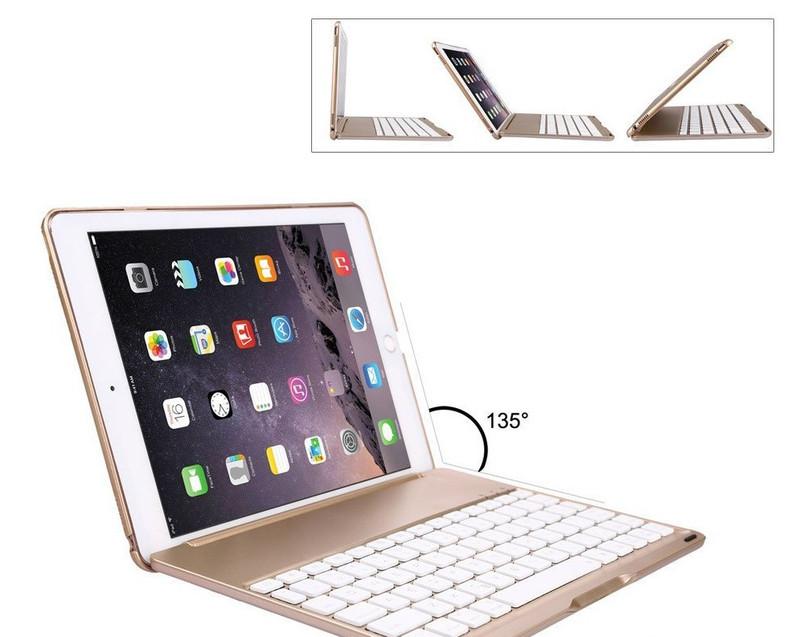 Bàn phím ốp lưng iPad Pro 9.7 vàng hồng Bluetooth 8