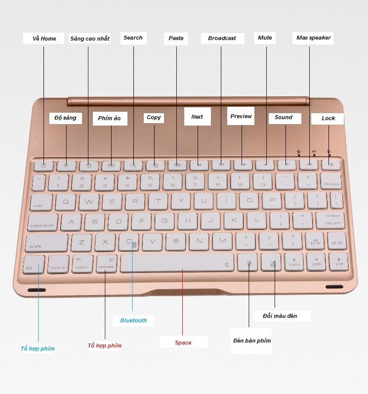 Bàn phím ốp lưng iPad Pro 9.7 vàng hồng Bluetooth 12