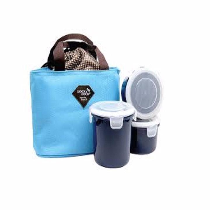 Bộ 3 hộp cơm kèm túi giữ nhiệt Lock Lock 4