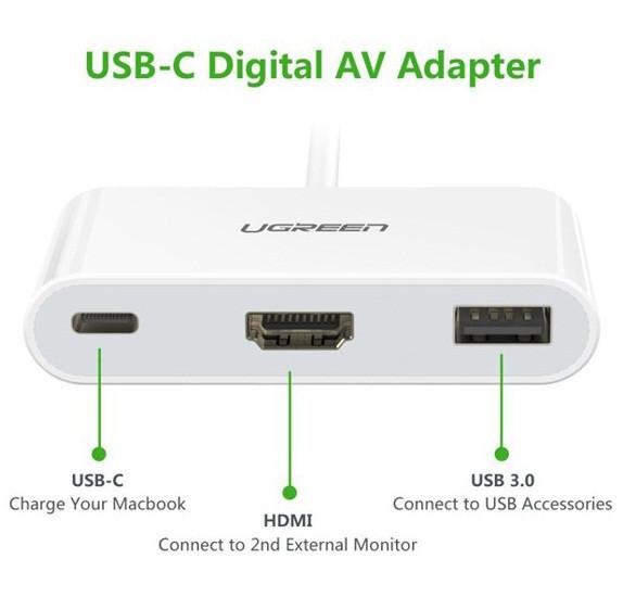 Cáp chuyển USB Type C sang HDMI + USB 3.0 Ugreen 30377 cho Macbook 3