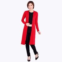 Áo khoác cotton lụa form dài - Đỏ - CIRINO