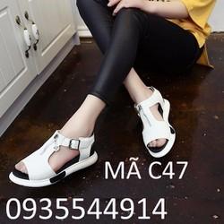 Giày Sandal nữ phối dây kéo cá tính C47
