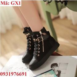 Giày bốt nữ sneaker đen phối kim loại  GX1