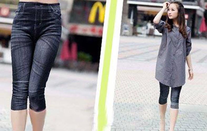 Quần Legging lửng giả Jeans thời trang 1