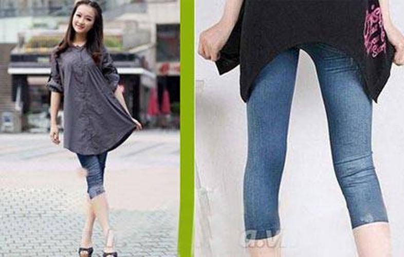 Quần Legging lửng giả Jeans thời trang 3