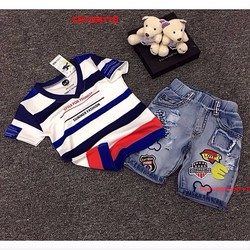 Bộ quần jean áo thun sọc màu cực yêu cho bé từ 1- 8 Tuổi_CBT20817