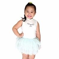 Set áo váy xòe cho bé gái - Áo trắng Váy xanh - Cirino