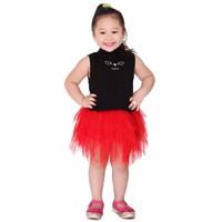 Set áo váy xòe xếp tầng cho bé gái - Áo đen Váy đỏ - Cirino