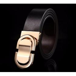 Thắt lưng dây đen mặt vàng thời trang