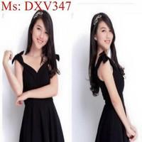 Đầm xòe cổ tim đính vai nơ xinh đẹp DXV347
