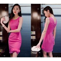 Đầm ôm body cổ ngọc trai lai đính nơ cực xinh - AV5061