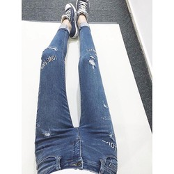 Quần Jean Skinny thêu chữ hàng hiếm Vnxk xịn, chất jean co giãn tốt.