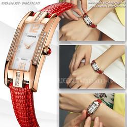 Đồng hồ nữ mặt vuông đính hạt thời trang Hàn Quốc - Mã số: DHN1621