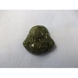 Mặt dây chuyền - Phật Di lặc đá thạch anh xanh 3,5 x 3,2 cm