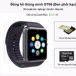 Đồng hồ thông minh GT08-đen- izend hỗ trợ gắn sim nghe gọi-tiếng việt