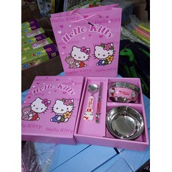 Bộ bát đũa thìa hoạt hình Hello Kitty bằng inox cho bé yêu
