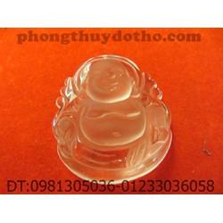 Mặt dây chuyền- Phật di lặc đá thạch anh trắng dài 3,8 rộng 3,2 cm
