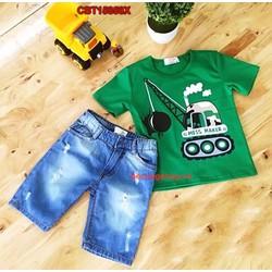 Bộ đồ áo thun in hình cần cẩu kèm quần jean cho bé trai từ 1-8 Tuổi