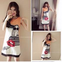 Đầm suông họa tiết cô gái sành điệu - D167