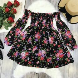 Đầm xòe hoa bẹt vai nhún siêu xinh
