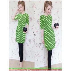 Áo dài nữ cách tân thiết kế dài tay chấm bi sành điệu AD30