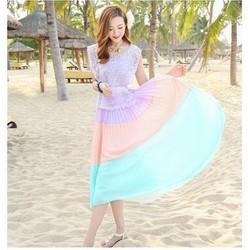 Đầm xòe sắc màu ngọt ngào - ren phối voan đặc sắc