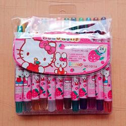 Hộp bút sáp vặn màu Hello Kitty cao cấp 24 cây