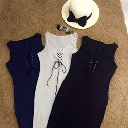 Đầm thun body đan dây