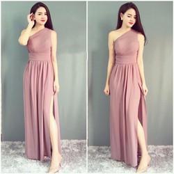 HỒNG,ĐEN-Đầm Dạ Hội Thiết Kế Lệch Vai Quyến Rũ-TQS306