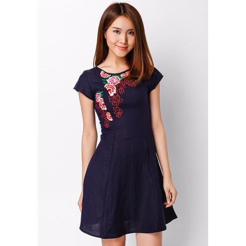 Đầm Linen 7 mảnh Thêu Hoa Hồng Nổi - Xanh đen CIRINO