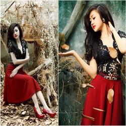 Set nguyên bộ áo ren đen chân váy đỏ xinh xắn ko kèm belt