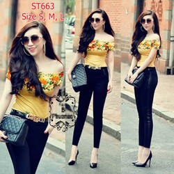 ST663 Set áo bẹt vai hoa hồng vintage quần tregging đen pha da sườn