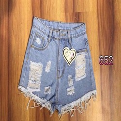 Jeans short nữ wash rách tua lai