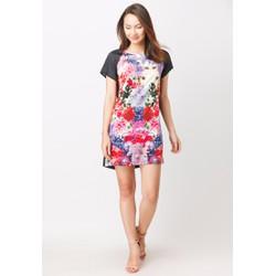 Đầm suông in hoa tay phối màu - Đen - CIRINO